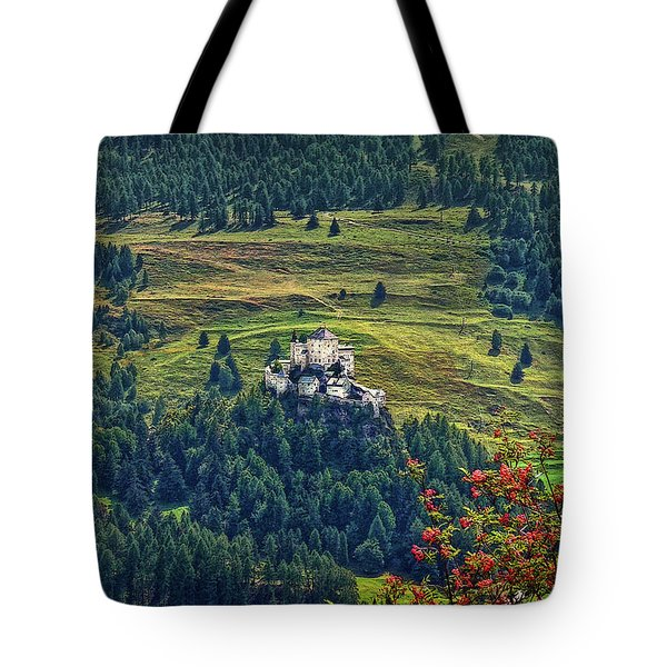 Tote Bag featuring the photograph Landscape With Castle by Hanny Heim