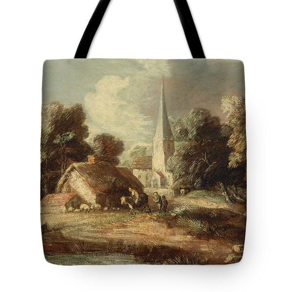 Landscape With Cottage And Church Tote Bag