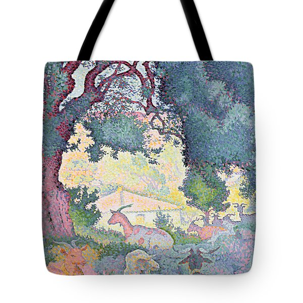 Landscape With Goats Tote Bag by Henri-Edmond Cross