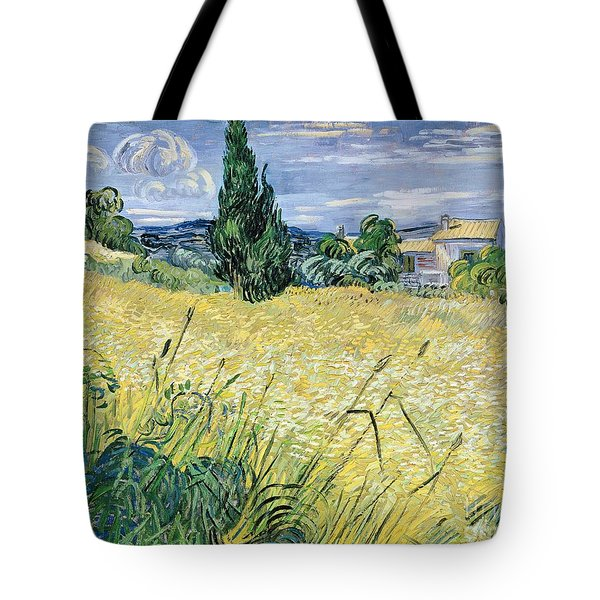 Landscape With Green Corn Tote Bag by Vincent Van Gogh