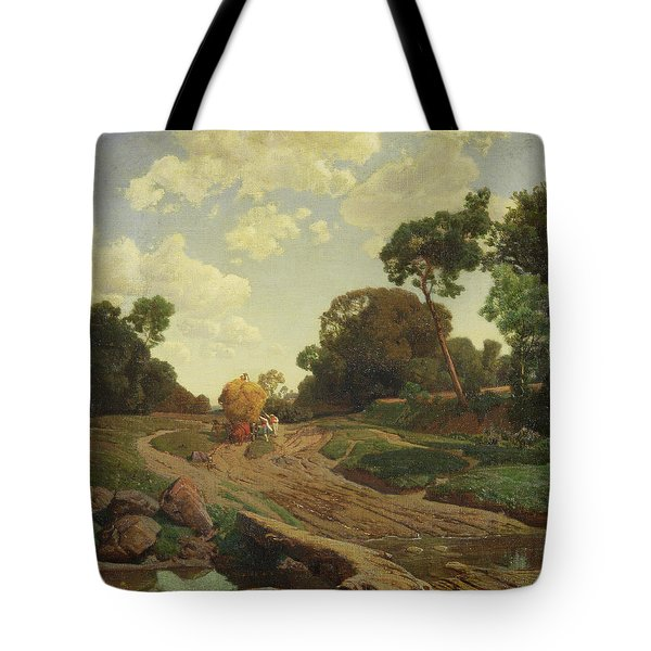 Landscape With Haywagon Tote Bag by Valentin Ruths