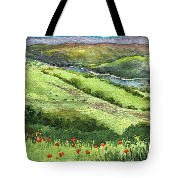 Landscape With Hills Creek And Flowers Watercolor Tote Bag