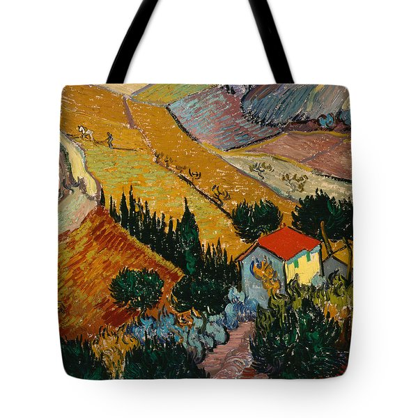 Tote Bag featuring the painting Landscape With House And Ploughman by Van Gogh
