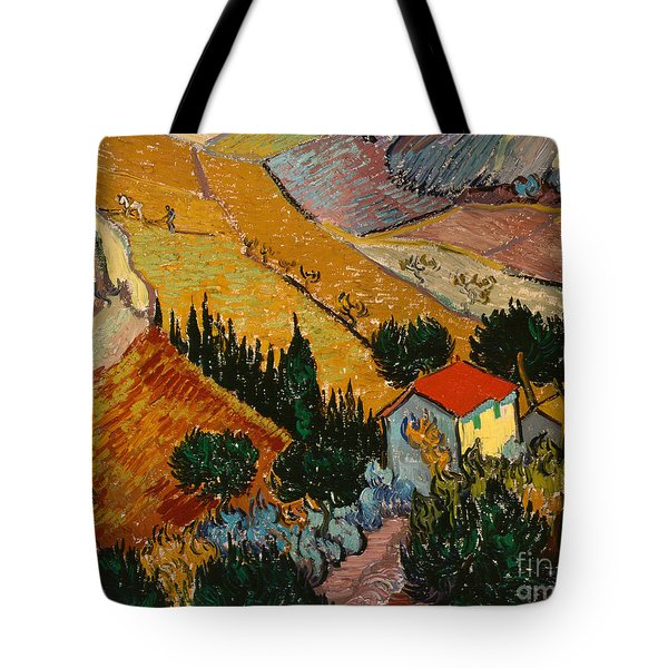 Landscape With House And Ploughman Tote Bag by Vincent Van Gogh