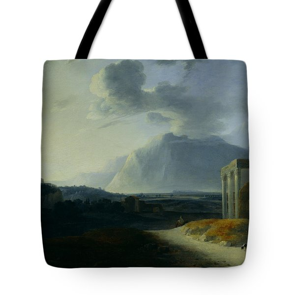 Landscape With Mount Stromboli Tote Bag by Willem Schellinks