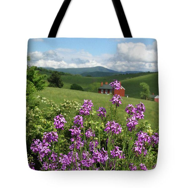Landscape With Purple Flowers Tote Bag