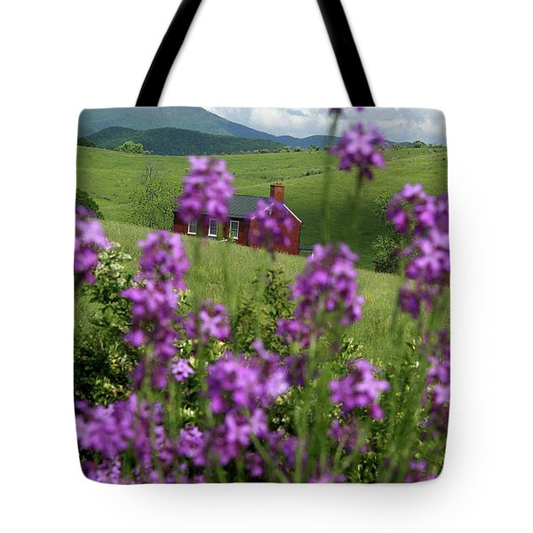 Landscape With Purple Flowers In Virginia Tote Bag