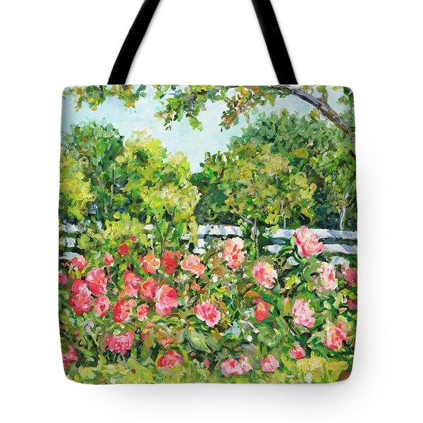 Landscape With Roses Fence Tote Bag