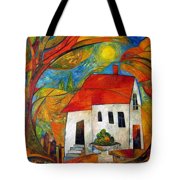 Landscape With The House Tote Bag by Mikhail Savchenko