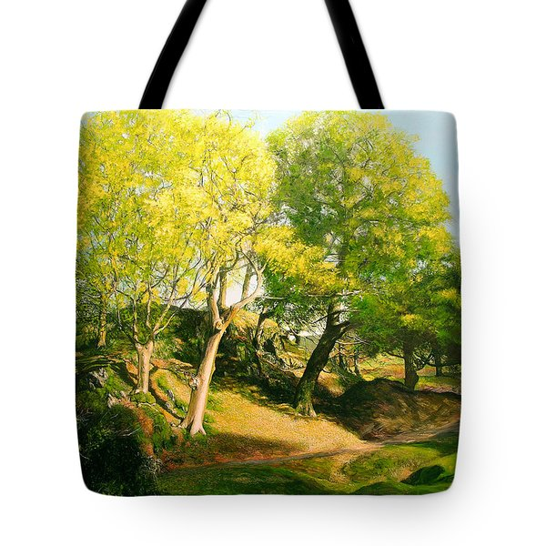Tote Bag featuring the painting Landscape With Trees In Wales by Harry Robertson