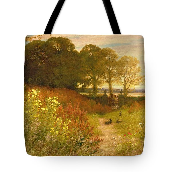 Landscape With Wild Flowers And Rabbits Tote Bag by Robert Collinson