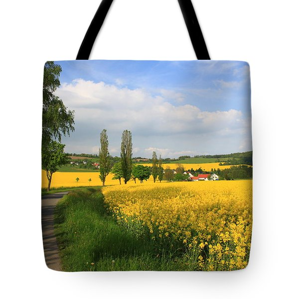 Landscape With Yellow Flowers Tote Bag
