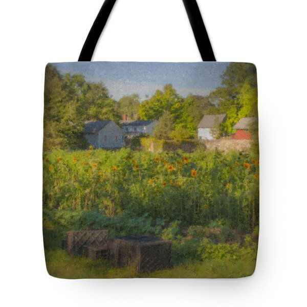 Langwater Farm Sunflowers And Barns Tote Bag
