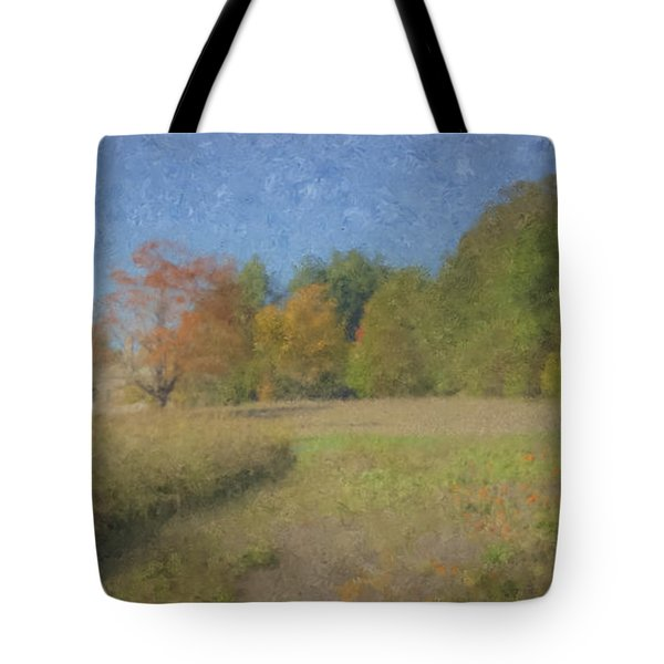 Langwater Farm With Pumpkins And Chateau Tote Bag
