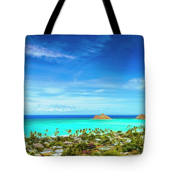 Lanikai Beach From The Pillbox Trail Tote Bag by Aloha Art