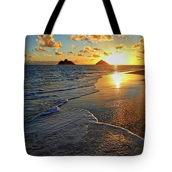 Lanikai Beach Sunrise Foamy Waves Tote Bag by Aloha Art