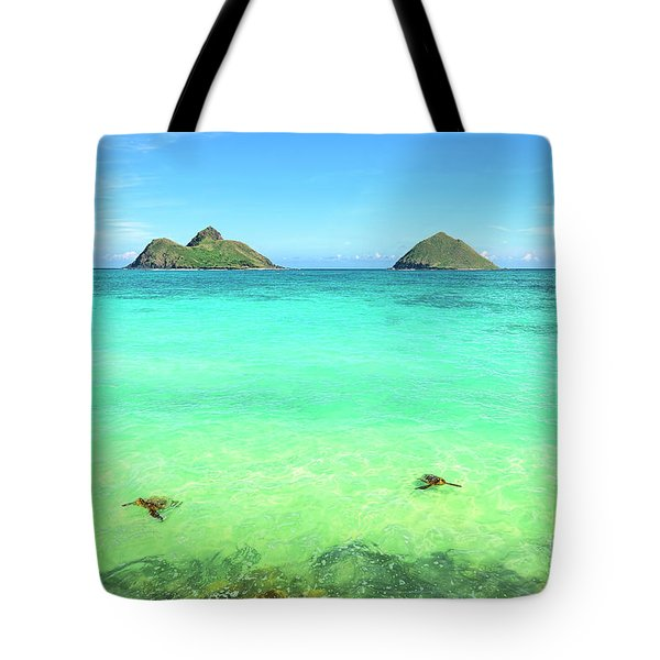 Lanikai Beach Two Sea Turtles And Two Mokes Tote Bag by Aloha Art