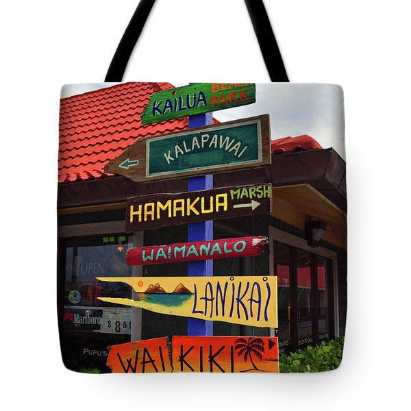 Lanikai Kailua Waikiki Beach Signs Tote Bag by Aloha Art