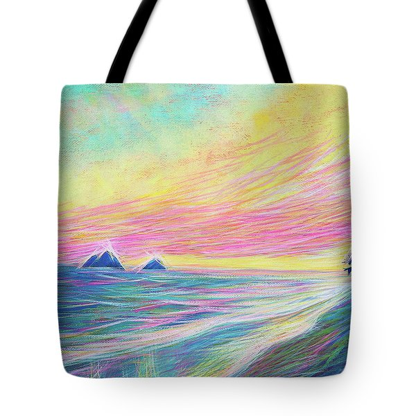 Tote Bag featuring the painting Lanikai Sunrise by Angela Treat Lyon