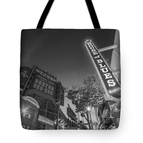 Lansdowne Street Fenway Park House Of Blues Boston Ma Black And White Tote Bag