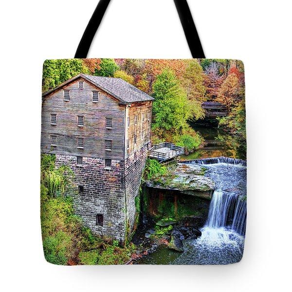 Lanterman's Mill And Bridge Tote Bag by Marcia Colelli