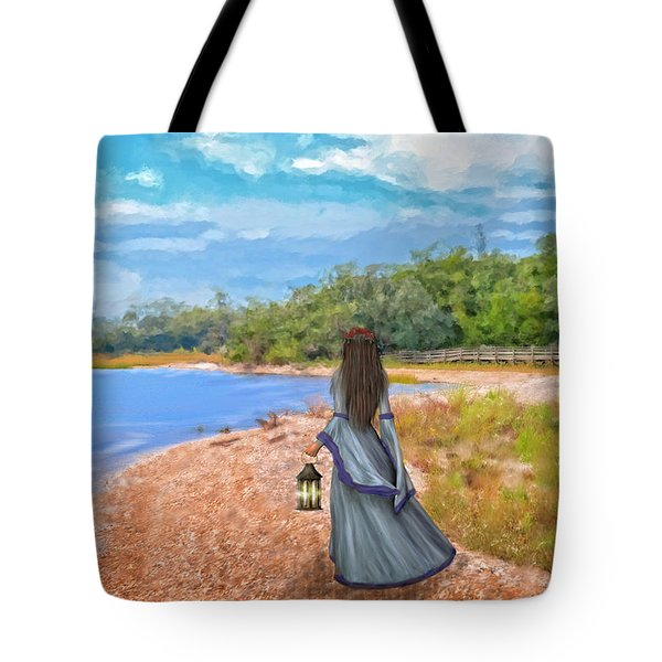 Lantern Lady In Waiting Tote Bag by Mary Timman
