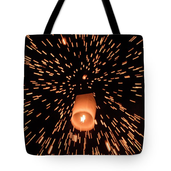 Tote Bag featuring the photograph Lanterns In The Sky by Pradeep Raja Prints