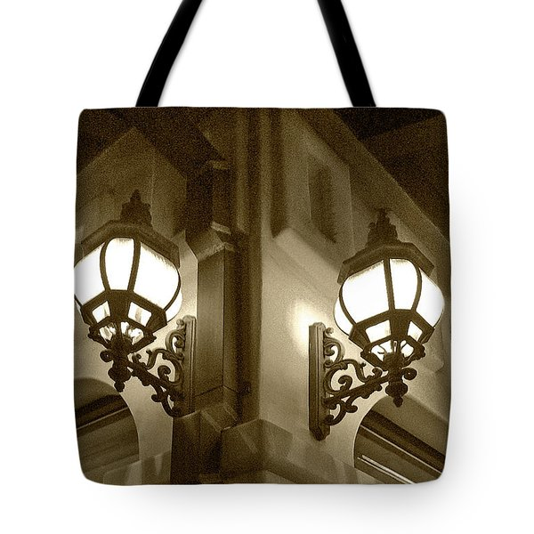 Tote Bag featuring the photograph Lanterns - Night In The City - In Sepia by Ben and Raisa Gertsberg
