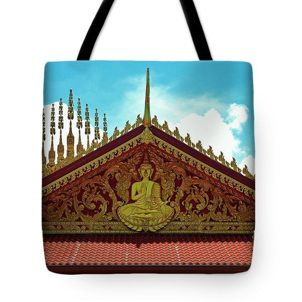 Tote Bag featuring the photograph Lao Buddhist Temple by Craig Wood