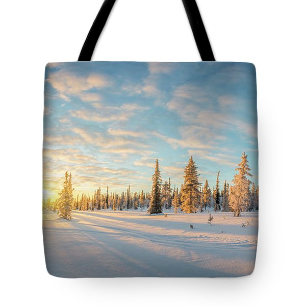 Tote Bag featuring the photograph Lapland Panorama by Delphimages Photo Creations