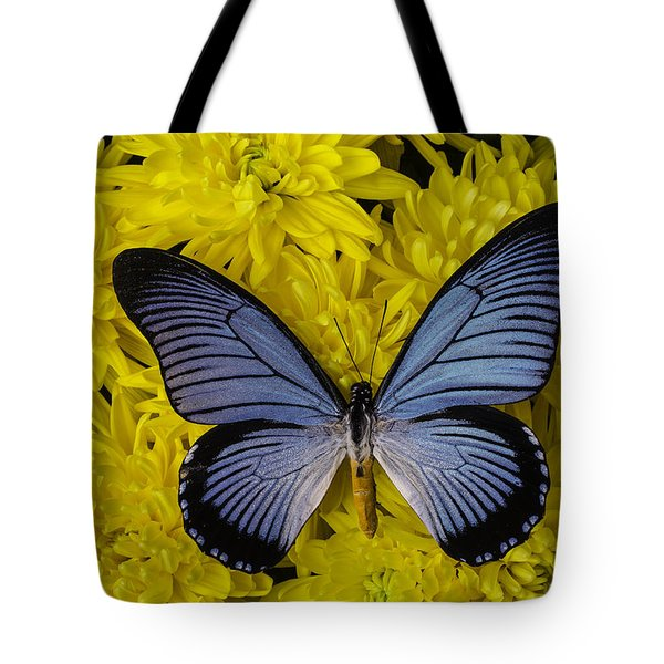 Large Blue Butterfly On Mums Tote Bag