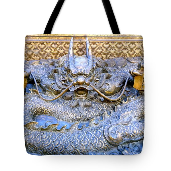 Tote Bag featuring the photograph Large Bronze Sculpture Of A Dragon by Yali Shi