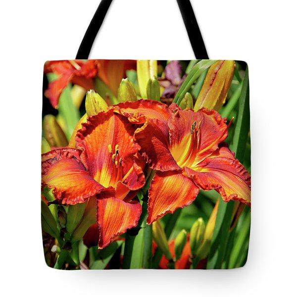 Large Deep Orange Tiger Lilys Tote Bag