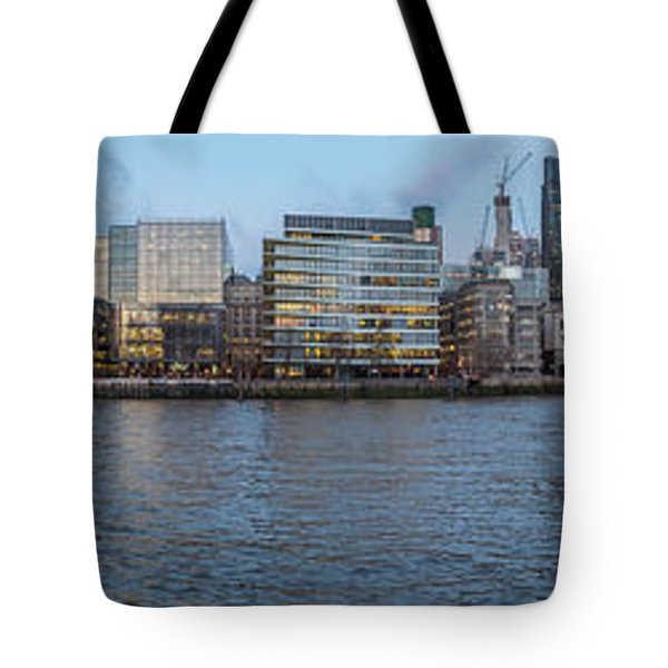 Large Panorama Of Downtown London Betwen The London Bridge And T Tote Bag