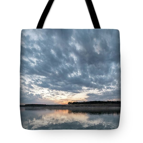 Large Panorama Of Storm Clouds Reflecting On Large Lake At Sunse Tote Bag