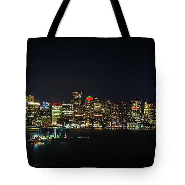 Large Panoramic Of Downtown Boston At Night Tote Bag