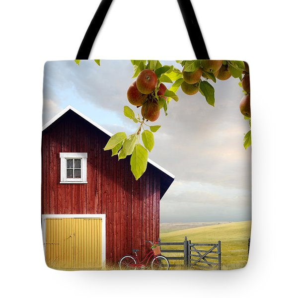 Large Red Barn With Bicycle In Field Of Wheat Tote Bag by Sandra Cunningham