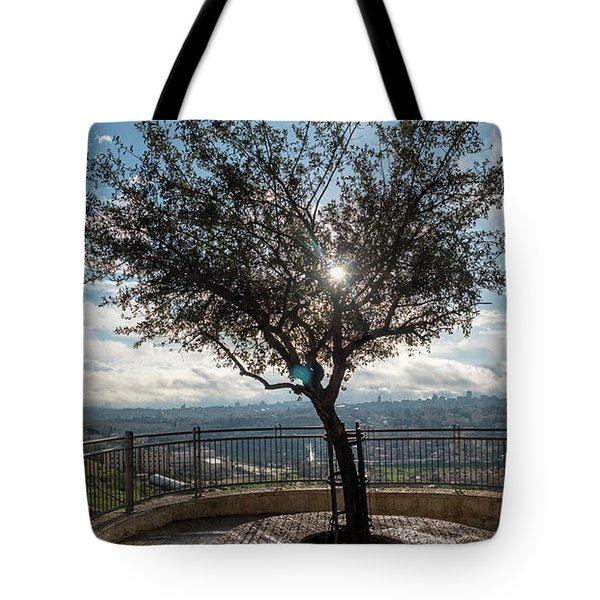 Large Tree Overlooking The City Of Jerusalem Tote Bag