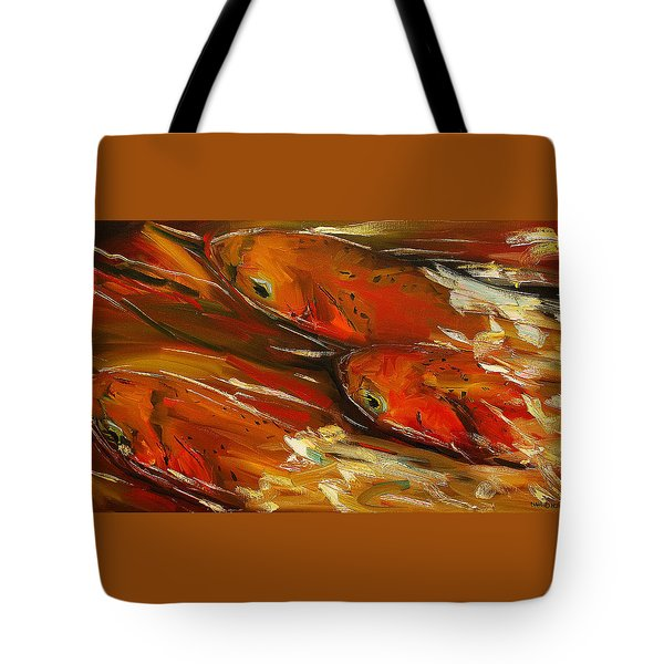 Large Trout Stream Fly Fish Tote Bag by Diane Whitehead