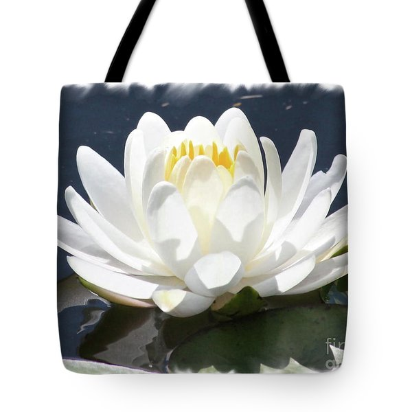 Large Water Lily With White Border Tote Bag by Carol Groenen