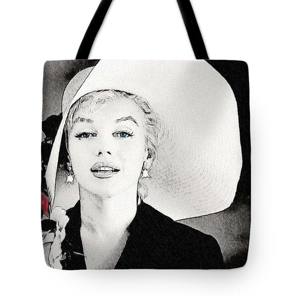 Large White Hat -marilyn Monroe  - Sketch Tote Bag