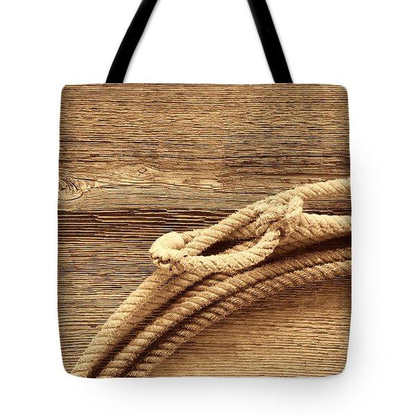 Lariat On Wood Tote Bag