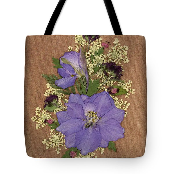 Larkspur And Queen-ann's-lace Pressed Flower Arrangement Tote Bag