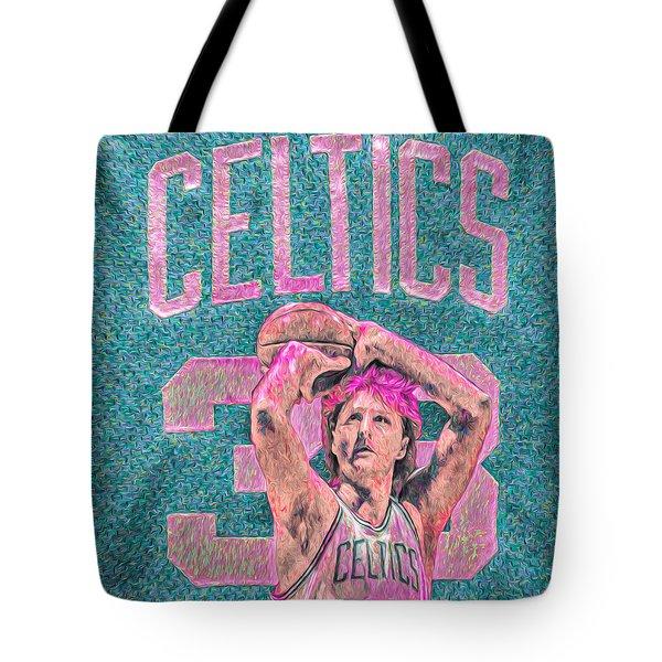 Larry Bird Boston Celtics Digital Painting Pink Tote Bag