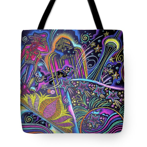 Tote Bag featuring the painting Las Vegas by Leon Zernitsky