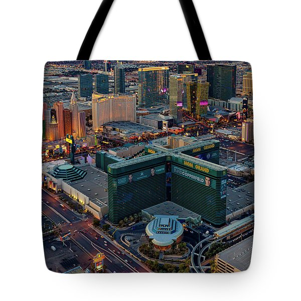 Tote Bag featuring the photograph Las Vegas Nv Strip Aerial by Susan Candelario