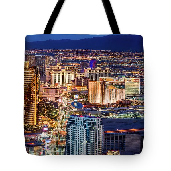Tote Bag featuring the photograph Las Vegas Strip From The Stratosphere Tower by Aloha Art