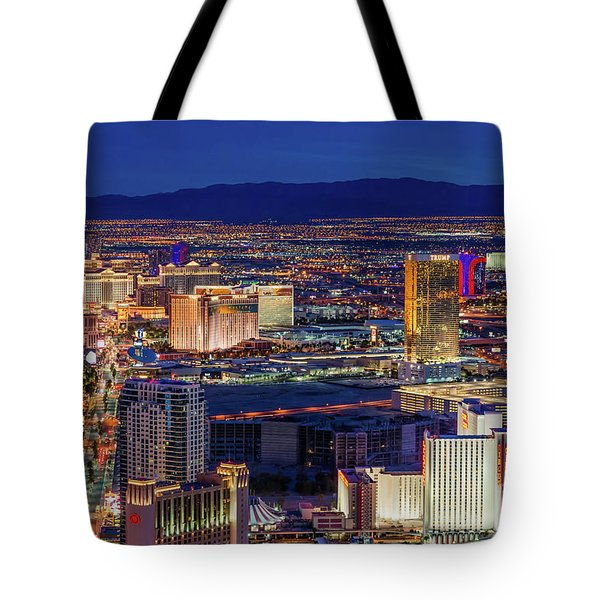 Tote Bag featuring the photograph Las Vegas Strip From The Stratosphere Wide by Aloha Art