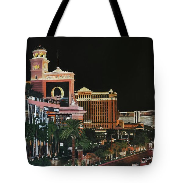 Las Vegas Strip Oil On Canvas Painting Tote Bag
