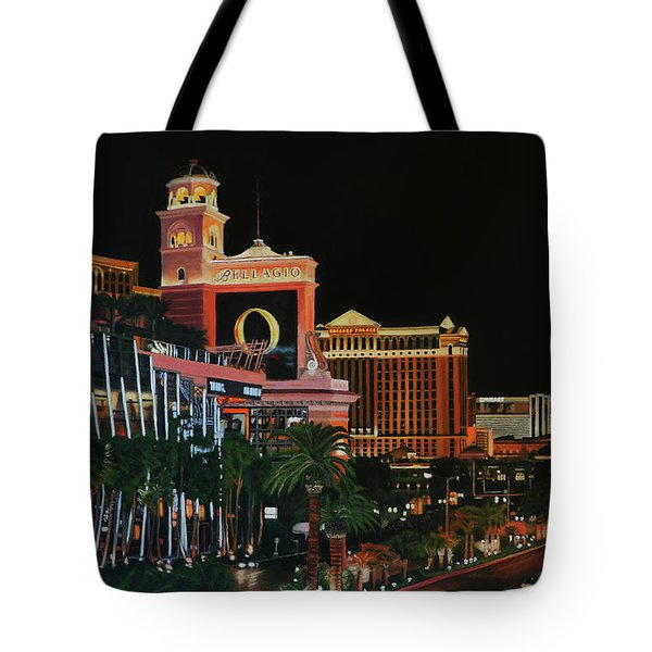 Las Vegas Strip Oil On Canvas Painting Tote Bag